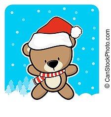 reizend, hut, santa, bär, teddy