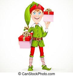 reizend, junge, assistent, weihnachtshelfer, freigestellt, santa, jahres, geschenke, hintergrund, neu , weißes, gibt