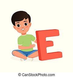 reizend, junge sitting, mit, gekreuzte beine, und, besitz, groß, brief, e., karikatur, zeichen, von, wenig, kid., spaß, erzieherisch, game., wohnung, vektor, design