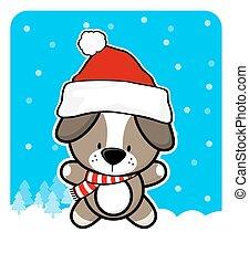reizend, junger hund, hut, santa