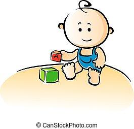 reizend, karikatur, baby, spielende , mit, bausteine