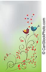 reizend, karikatur, blumen, ve, vögel