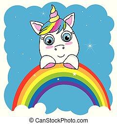 reizend, karikatur, einhorn, auf, a, regenbogen