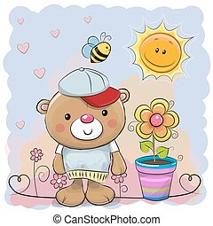 reizend, karikatur, teddybär, mit, blume