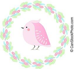 reizend, kawaii, fruehjahr, vogel, und, gefieder, wreath., jahreszeiten, vektor, abbildung