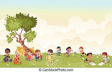 reizend, kinder, playing., grünes gras, karikatur, landschaftsbild