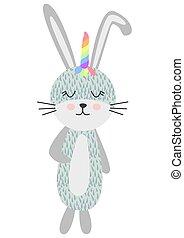 reizend, kinder, skandinavisch, design, regenbogen, einhorn, kaninchen