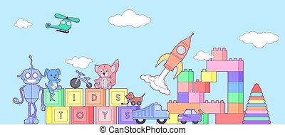 reizend, kinder, spielzeuge, banner, mit, satz, von, verschieden, spielzeuge, für, jungen mädchen, isolated., eps10, vektor, illustration.