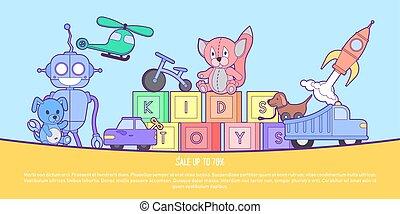 reizend, kinder, spielzeuge, laden, banner, mit, satz, von, verschieden, spielzeuge, für, jungen mädchen, isolated., vektor, hintergrund, eps10, illustration.