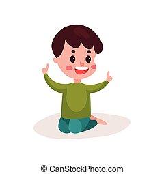 reizend, kleiner junge, sitzen boden, kind, lernen, und, spielende , bunte, karikatur, vektor, abbildung