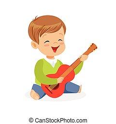 reizend, kleiner junge, sitzen boden, spielende gitarre, junger musiker, mit, spielzeug, musikinstrument, musikalisches, bildung, für, kinder, karikatur, vektor, abbildung