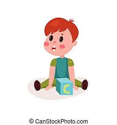 reizend, kleiner junge, sitzen boden, spielende , mit, block, spielzeug, kind, lernen, durch, spaß, und, spielen, bunte, karikatur, vektor, abbildung