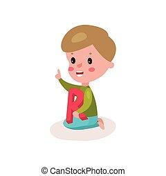 reizend, kleiner junge, sitzen boden, spielende , mit, brief, r, kind, lernen, durch, spaß, und, spielen, bunte, karikatur, vektor, abbildung