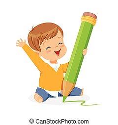 reizend, kleiner junge, sitzen boden, und, schreibende, mit, a, riesig, grün, bleistift, karikatur, vektor, abbildung