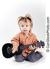 reizend, kleiner junge, spielende , ukulele, gitarre