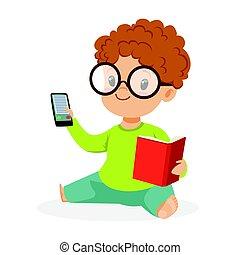 reizend, kleiner junge tragende gläser, sitzen boden, und, spielende , mit, buch, und, telefon, bunte, karikatur, zeichen, vektor, abbildung