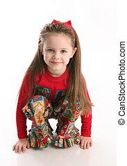 reizend, kleines mädchen, in, weihnachten, tragen