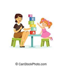 reizend, kleines mädchen, lernen, alphabet, briefe, durch, spiel, vortrag halten , therapist., erzieherisch, spiel, begriff