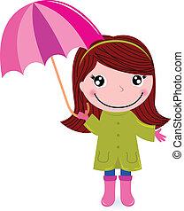 reizend, kleines mädchen, mit, umrella, in, regen