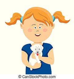 reizend, kleines mädchen, mit, zöpfe, besitz, a, weißes, junger hund