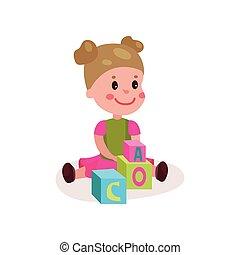 reizend, kleines mädchen, sitzen boden, spielende , mit, block, spielzeuge, kind, lernen, durch, spaß, und, spielen, bunte, karikatur, vektor, abbildung