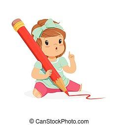 reizend, kleines mädchen, sitzen boden, und, schreibende, mit, a, riesig, roter bleistift, karikatur, vektor, abbildung