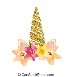 reizend, kopf, flower., abbildung, vektor, einhorn