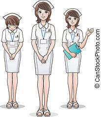 reizend, krankenschwester, satz, begrüßen, junger