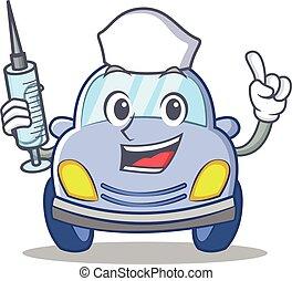 reizend, krankenschwester, zeichen, karikatur, auto