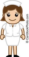 reizend, krankenschwester, zeichen, karikatur