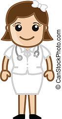 reizend, krankenschwester, zeichen, lächeln, hübsch