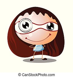 reizend, lächeln, karikatur, m�dchen, mit, großer kopf, klein, koerper, -, vektor, abbildung