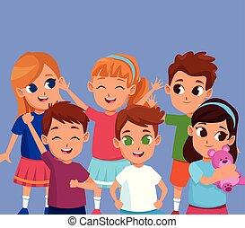 reizend, lächeln, kinder, karikaturen, glücklich