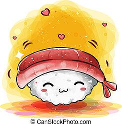 reizend, lächeln, sushiplatte, glücklich, japanisches , gesicht