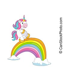reizend, lächeln, weißes, freigestellt, regenbogen, einhorn, brücke, wolkenhimmel, wenig