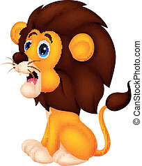 reizend, löwe, karikatur