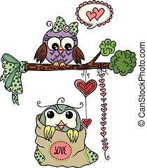 reizend, liebe, eule, paar, für, valentinestag