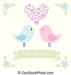 reizend, liebe, paar, abbildung, vektor, vögel