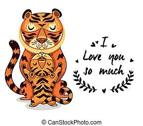 reizend, liebe, text, tiger, abbildung, viel, so, sie