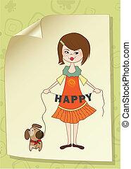 reizend, m�dchen, hund, glücklich