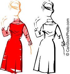 reizend, mode, girl., vektor, retro, sketches.