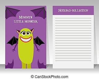 reizend, notizbuch, monster- schablone, violett