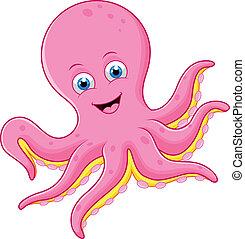 reizend, oktopus, karikatur