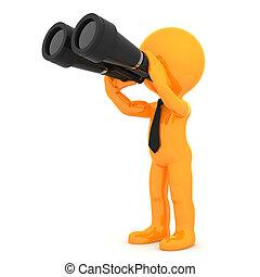 reizend, orange, zeichen, mit, fernglas