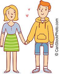 reizend, paar, liebe, halten hände, karikatur, charaktere, vektor, abbildung