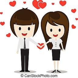reizend, paar, liebe, halten hände, karikatur, charaktere, vektor