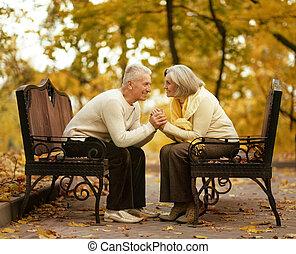 reizend, paar, senioren