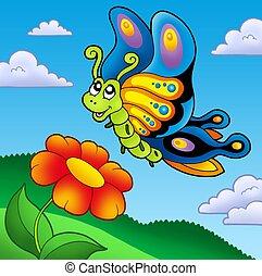 reizend, papillon, mit, rote blume