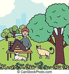 reizend, park, junger, katzen, mann, maskottchen