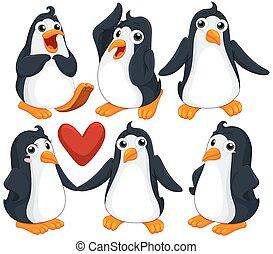 reizend, pinguine, in, verschieden, posen